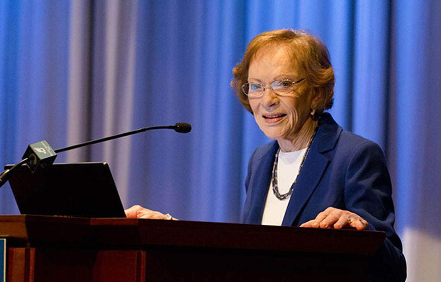Former First Lady Rosalynn Carter talks to fellows at the Carter Center in Atlanta, Georgia.