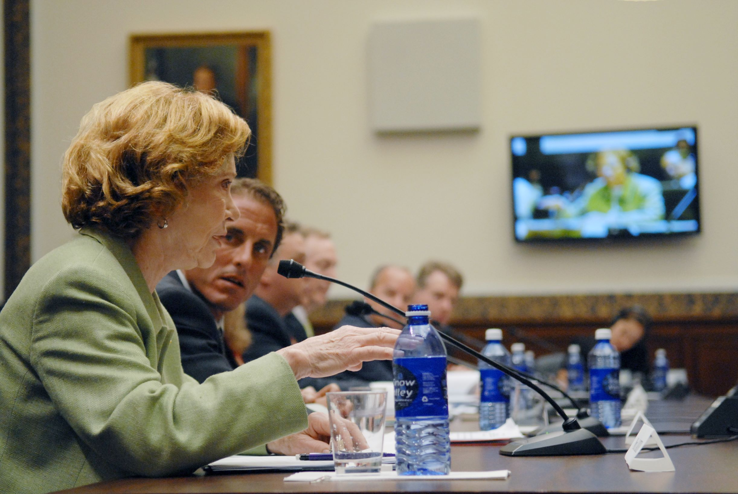 On July 10, 2007, Rosalynn Carter testified before a U.S. House of Representatives subcommittee in favor of the Wellstone Domenici Mental Health Parity and Addiction Equity Act, calling for mental illnesses to be covered by insurance on par with physical illnesses. (Photo/The Carter Center)