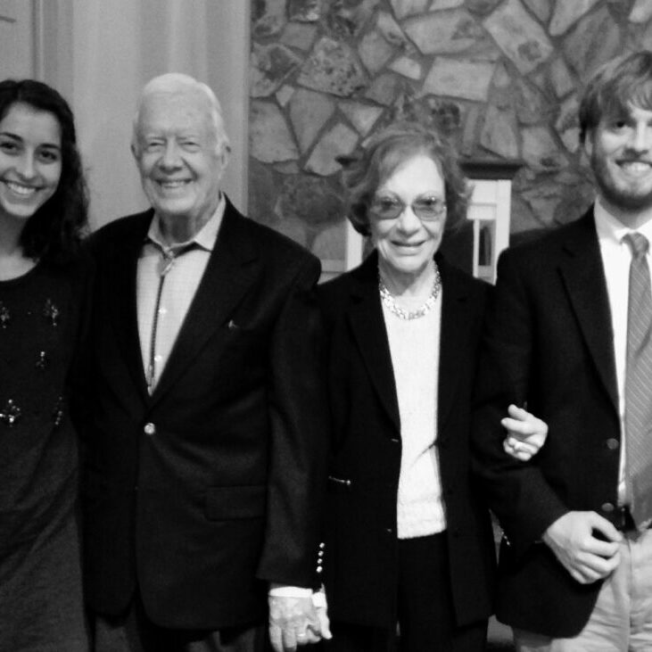Mary Ottley (left) and her brother, Robbie (right), with President and Mrs. Carter  after President Carter's Sunday School class in Plains, GA in 2015.